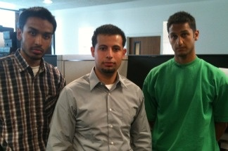 Members of Cal State Long Beach Muslim Student Association (left to right) Hamad Nasoordeen, Thamer Hussein and Khalil Daniel Sheikh.