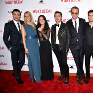"(L-R) Actors Jonny Pasvolsky, Gwyneth Paltrow, Olivia Munn, Ewan McGregor, Paul Bettany, Guy Burnet, Jeff Goldblum and Johnny Depp attend the premiere of Lionsgate's ""Mortdecai"" at TCL Chinese Theatre on January 21, 2015 in Hollywood, California."
