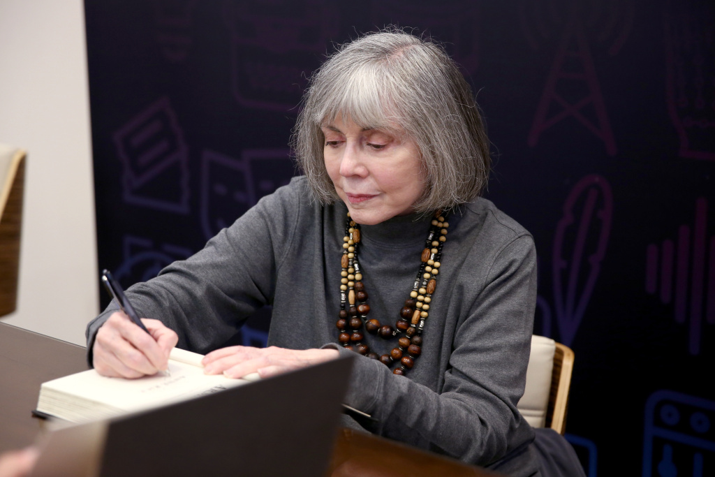 Author Anne Rice signs books during Entertainment Weekly's PopFest at The Reef on October 29, 2016 in Los Angeles, California.