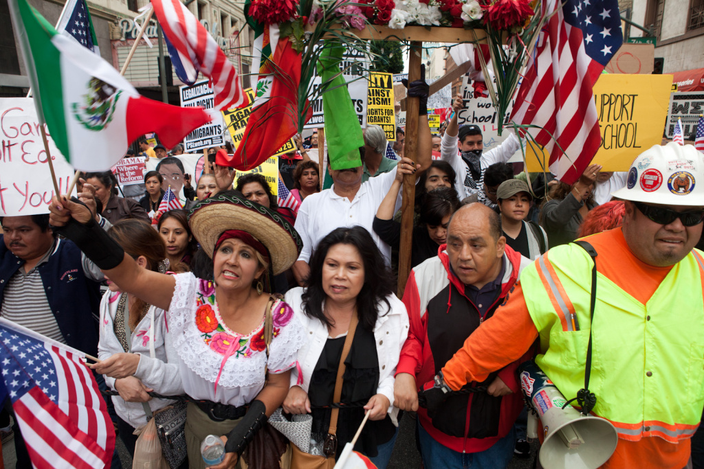 Immigration activists march in Downtown Los Angeles on May 1st, 2012.