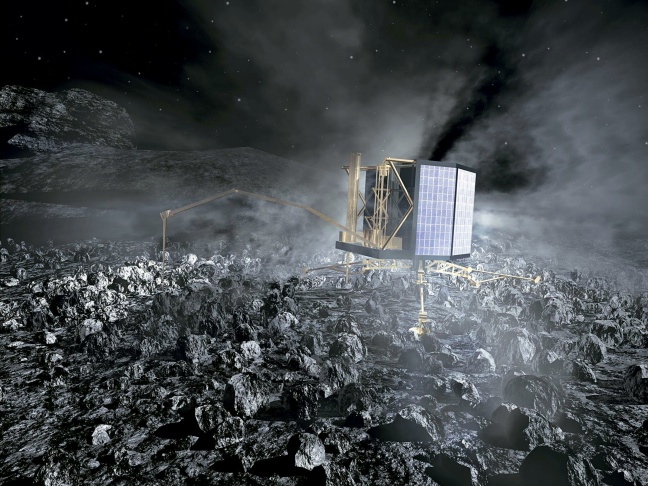 This handout picture from the European Space Agency (ESA) retrieved on September 3, 2008 shows an artist's rendition of ESA's probe Rosetta's closest approach to Earth during its second swing-by of our planet on 13 November 2007. The European Space Agency's billion-euro (1.25-billion-dollar) spacecraft was launched in 2004 on a 12-year, 7.1-billion-kilometre (4.4-billion-mile) mission. Scientists made contact again Monday after the probe emerged from a nearly three-year hibernation.