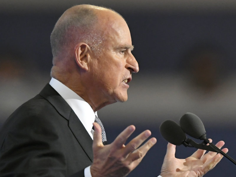 File: California Gov. Jerry Brown speaks during the third day of the Democratic National Convention in Philadelphia, Wednesday, July 27, 2016.
