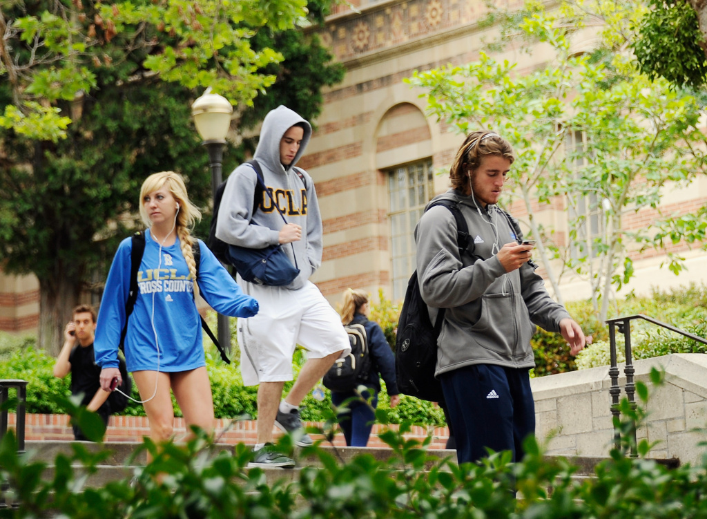 Students walk across the campus of UCLA on April 23, 2012 in Los Angeles, California.