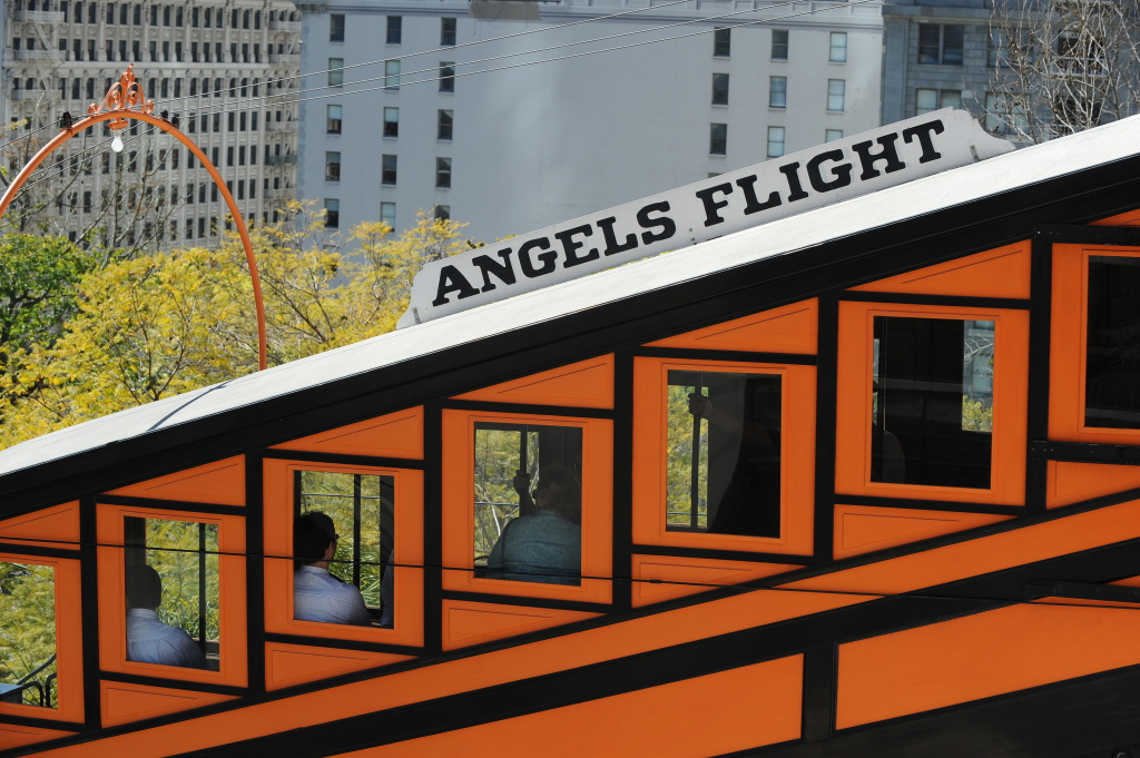 The Angels Flight Railway ferries passengers up and down Bunker Hill in downtown Los Angeles March, 15, 2010.