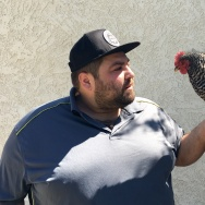 Comedian Danny Lobell in his backyard with Peacock, his pet chicken.