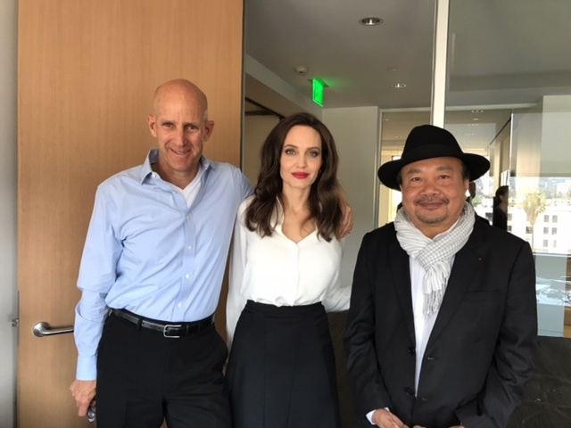 The Frame's John Horn with Angelina Jolie and Rithy Panh, who co-directed the film