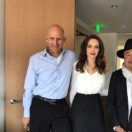 "The Frame's John Horn with Angelina Jolie and Rithy Panh, who co-directed the film ""First They Killed My Father."""