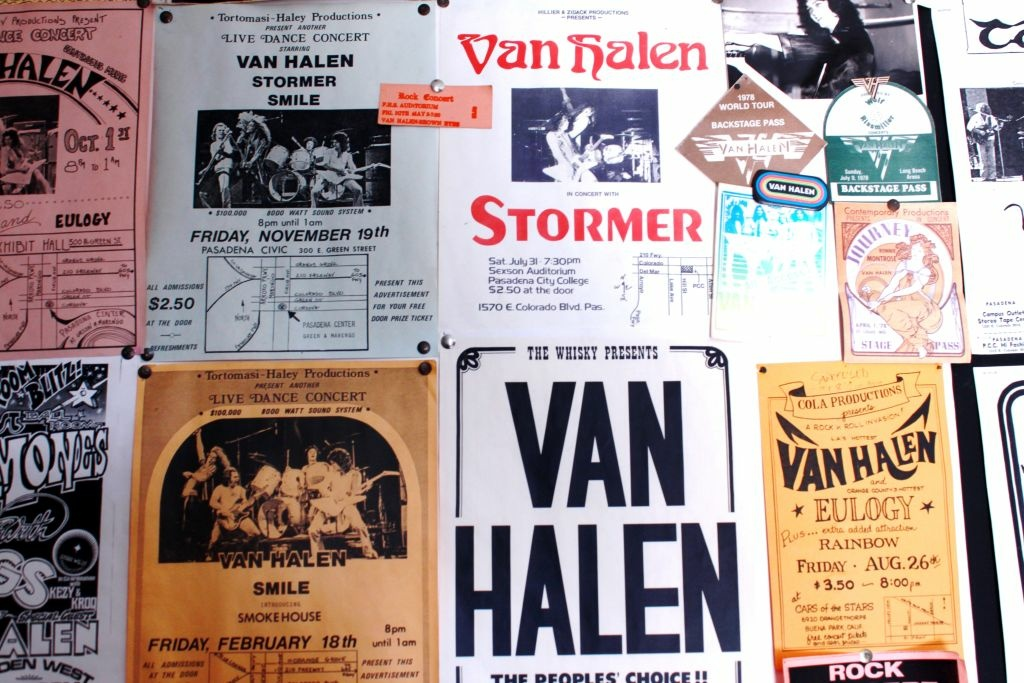 "Wall of early Van Halen concert flyers at the unofficial ""Van Halen Museum"" in Altadena."