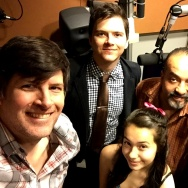 L-R: KPCC's John Rabe and Sanden Totten with Destiny, Albert, and Belinda Rodriguez in the Off-Ramp studio.