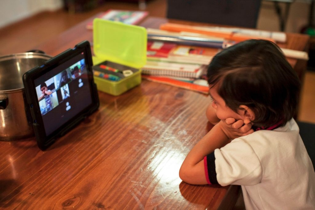 A preschool child Fabio Armendariz takes an online class at his house, in Monterrey, state of Nuevo Leon, Mexico, on August 24, 2020.