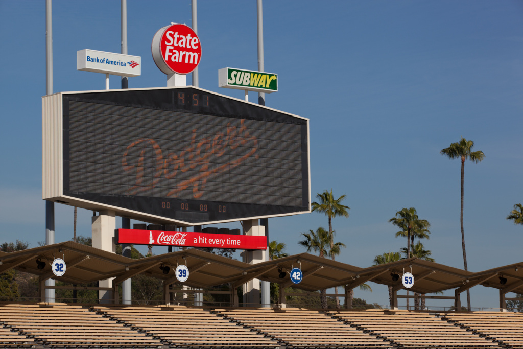 The scoreboard at Dodger Stadium.