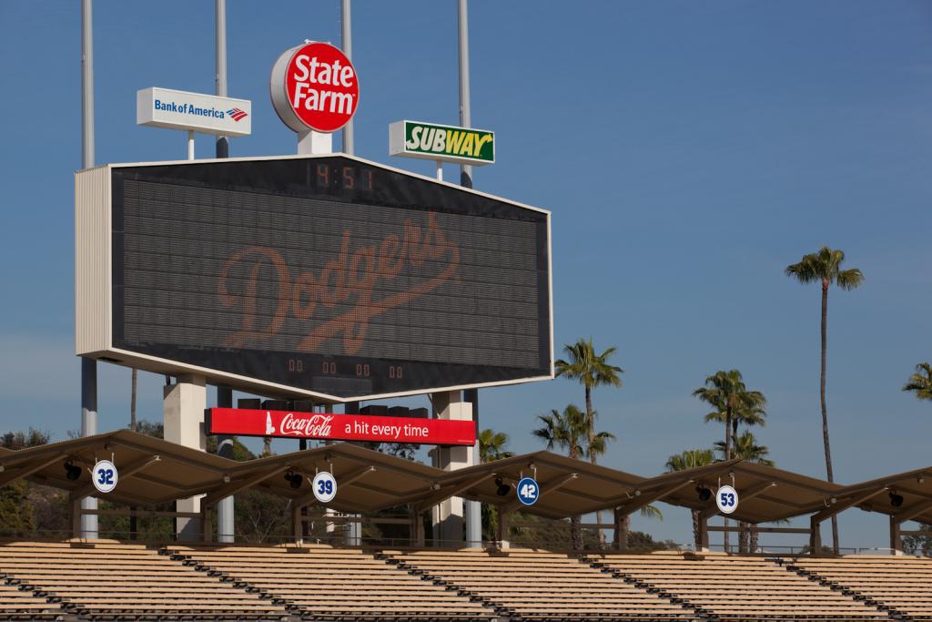 The scoreboard at Dodger Stadium.