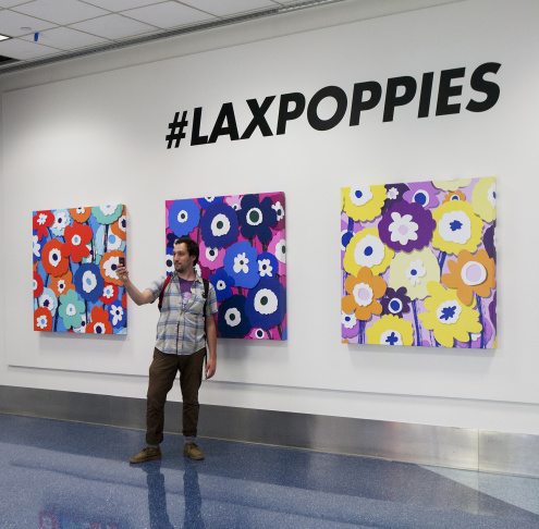 A sample of some of the art on display at a free LAX art exhibit.