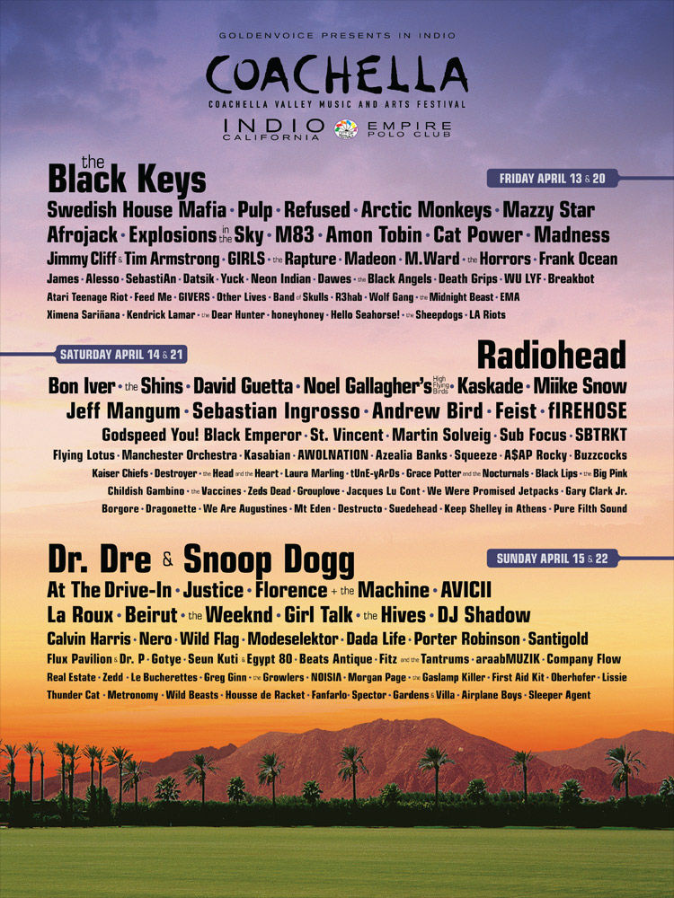 The official Coachella 2012 lineup was released January 9. The Black Keys, Radiohead and Dr. Dre & Snoop will be headlining two consecutive weekends in April in Indio, CA.