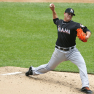 Miami Marlins starting pitcher Jose Fernandez in the 2nd inning of a game against the New York Mets in June 2013. Fernandez died Sunday morning in a boating accident.
