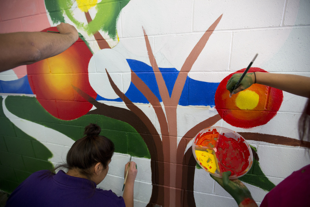 All 25 women at Camp Scott were required to participate in the mural project.