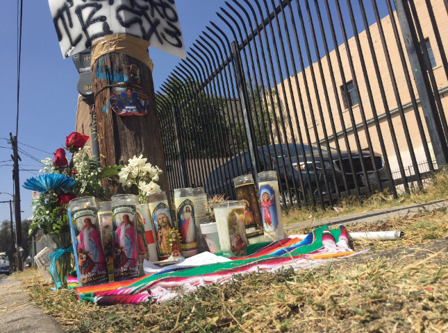 A memorial for 14-year-old Jesse Romero, who was shot and killed Tuesday evening by police in Boyle Heights following a foot chase.
