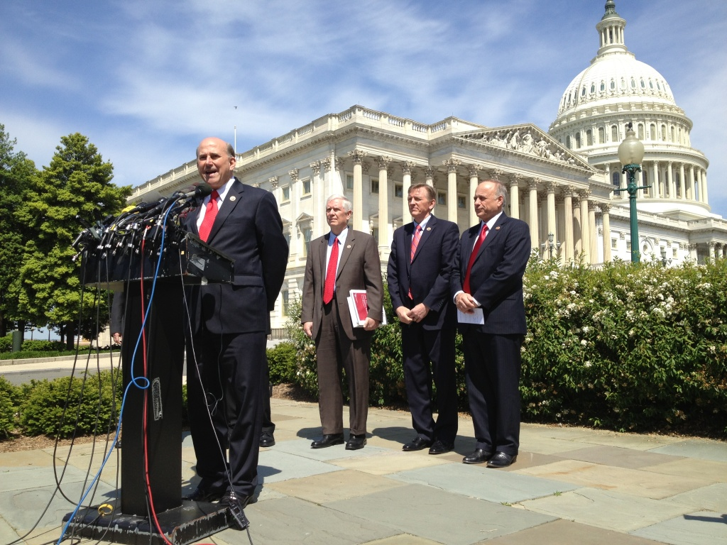 Texas Congressman Louie Gohmert (at podium) and some of his House GOP colleagues want to secure the border first before considering any other elements of immigration reform.