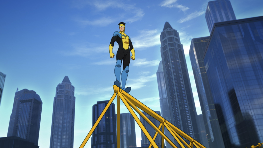 Young Mark Grayson (voiced by Steven Yeun) follows in his father's footsteps and adopts the heroic identity of Invincible in the Amazon Prime animated series.