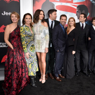 "At the ""Batman v Superman: Dawn of Justice"" premiere in New York City:  (L-R) producer Deborah Snyder, Diane Lane, Gal Gadot, Ben Affleck, Zack Snyder, Amy Adams, Henry Cavill, Jesse Eisenberg, Holly Hunter, producer Charles Roven and Tao Okamoto."
