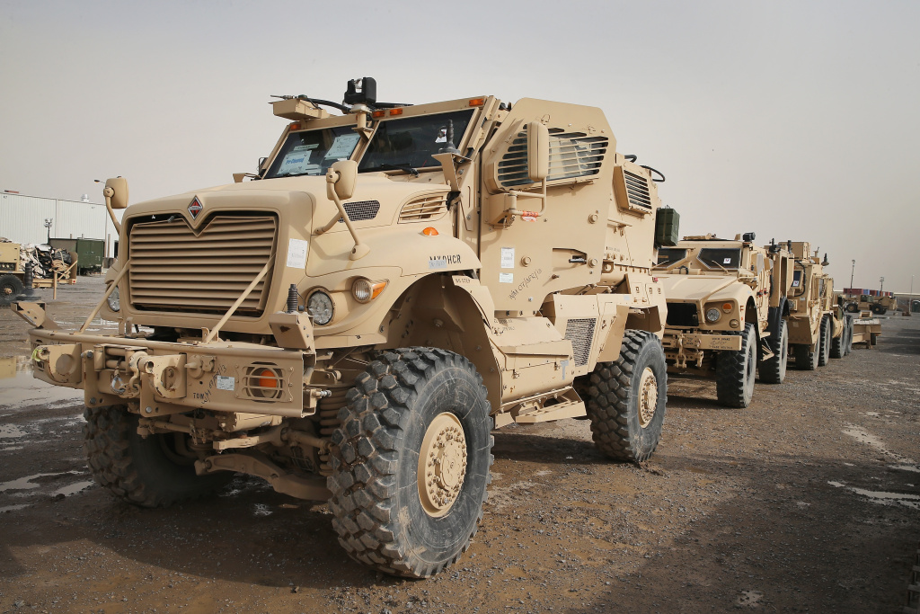 MRAP vehicles sit in the Redistribution Property Accountability Team yard at Kandahar Airfield near  Kandahar, Afghanistan. The RPAT facility is responsible for shipping military equipment back to the United States after it has been damaged or is no longer need in Afghanistan.