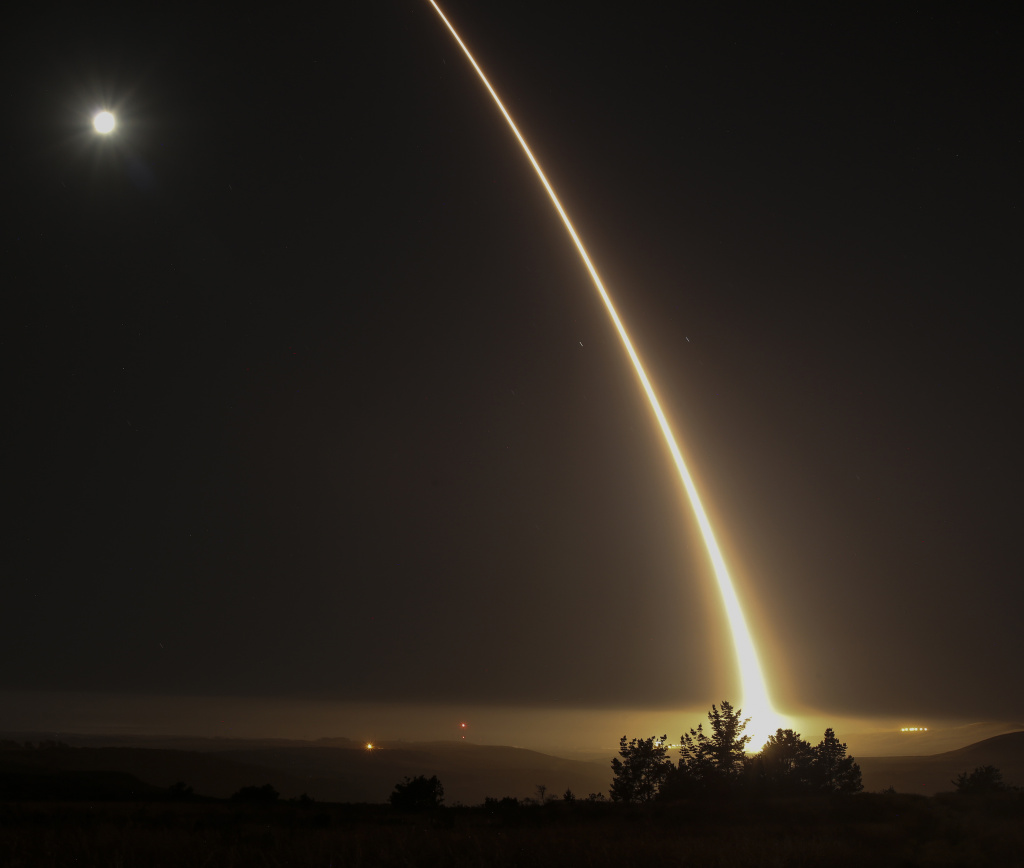 A streak of light trails off into the night sky as the US military test fires an unarmed intercontinental ballistic missile (ICBM) at Vandenberg Air Force Base, some 130 miles (209 kms) northwest of Los Angeles, California early on May 3, 2017. Another test will take place Tuesday night.