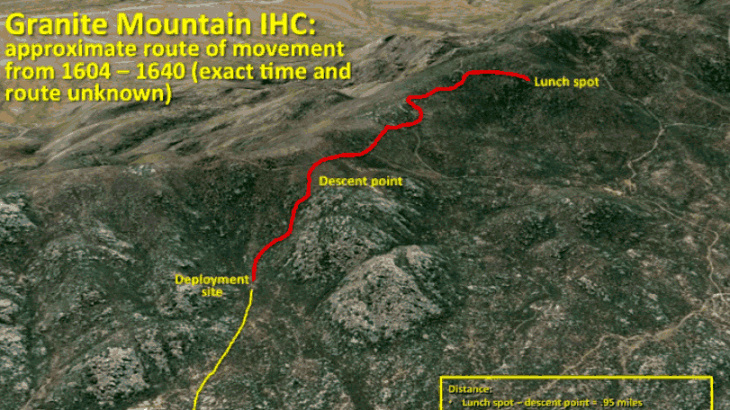 A map shows the movements of the Granite Mountain Hotshot crew as they fought the Yarnell Hill fire in late June.