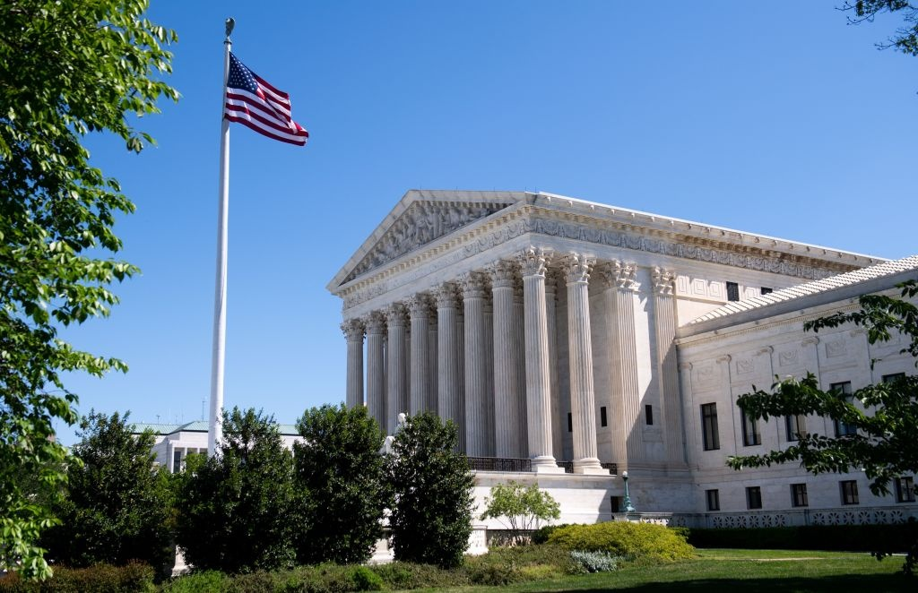 The US Supreme Court is seen in Washington, DC, on May 4, 2020, during the first day of oral arguments held by telephone, a first in the Court's history, as a result of COVID-19, known as coronavirus.