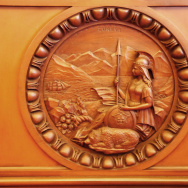california state senate chamber wooden state seal
