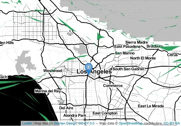 A map of the epicenter of an earthquake Saturday, Feb. 8, 2014 from KPCC's Earthquake Tracker.