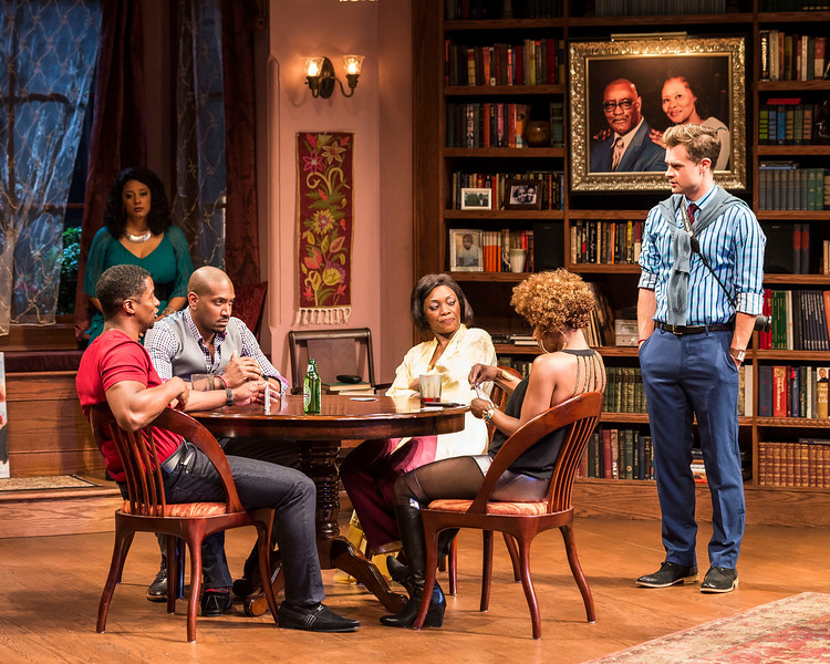 """L-R: Kamal Angelo Bolden, Cynda Williams (background), Bryan Terrell Clark, Shanésia Davis, J. Nicole Brooks and Mark Jude Sullivan in Paul Oakley Stovall's """"Immediate Family,"""" directed by Phylicia Rashad, playing April 22 through June 7, 2015, at the CTG/Mark Taper Forum."""