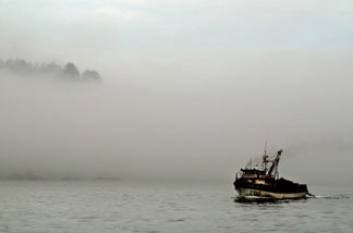 A fishing boat enters 'Caleta Tumbes' cove, Concepcion,some 519 km south of Santiago, August 11, 2009.