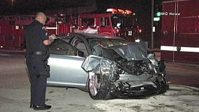 This Chevy Malibu crashed into a fire engine in Pasadena on May 5, injuring four people.
