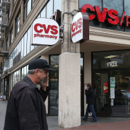 A pedestrian walks by a CVS store on June 15, 2015 in San Francisco, California.