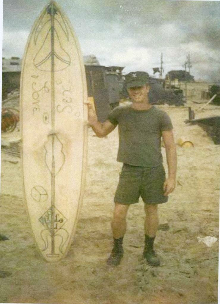 Bruce Blandy made his own surfboard while serving in the Navy in Vietnam.