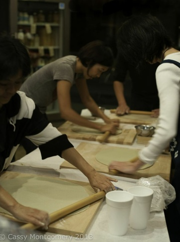 Food writer Sonoko Sakai teaches classes how to make the traditional soba noodles.