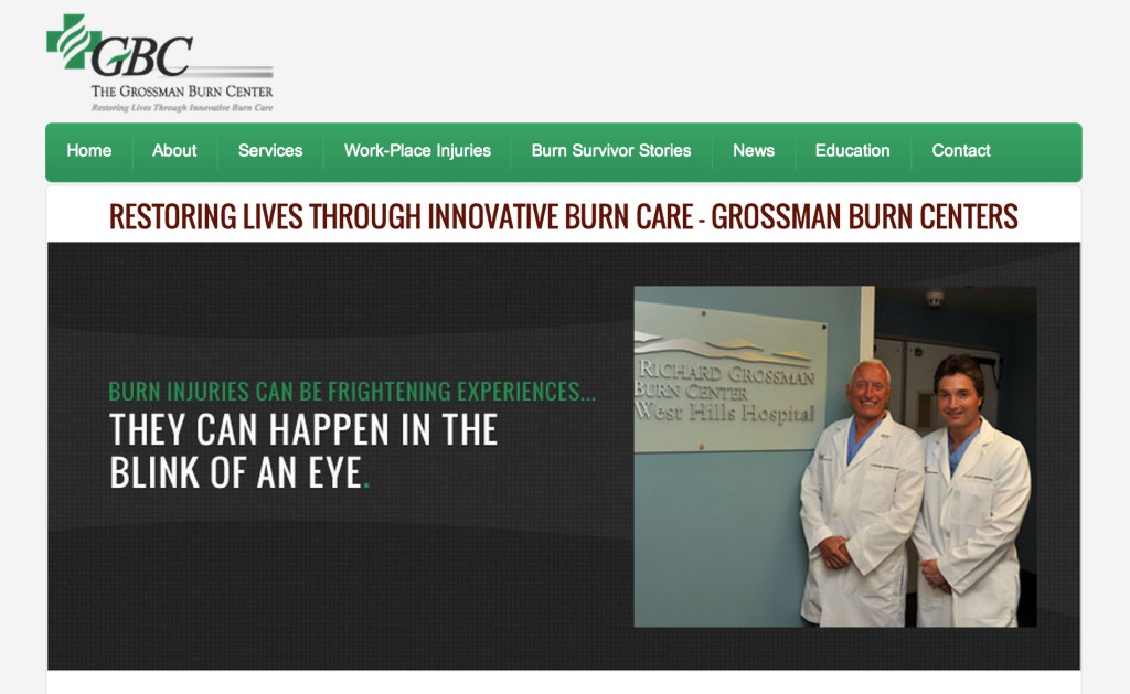 Screenshot of Grossman Burn Center website taken on Friday, March 14, 2014. Dr. A. Richard Grossman is seen on the left of the photo.