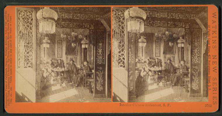 The interior of a Chinese restaurant in San Francisco, circa 1880.