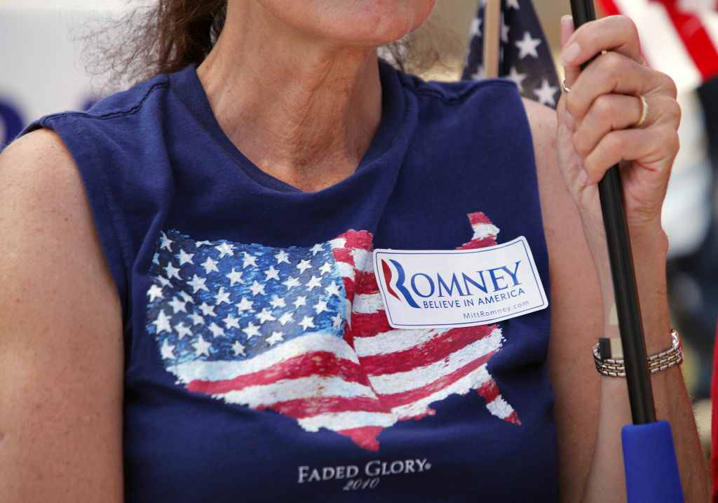 A supporter of Republican presidential candidate Mitt Romney waits for Sarah Palin, former Governor of Alaska and 2008 Republican vice presidential candidate, to speak at the