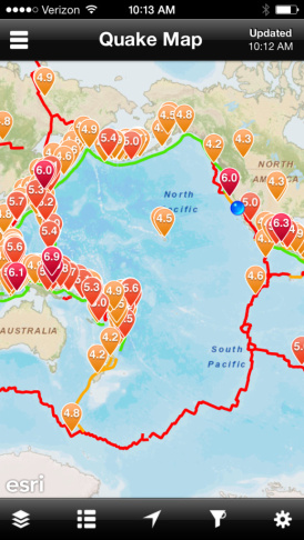 A screen capture of the earthquake map in the app