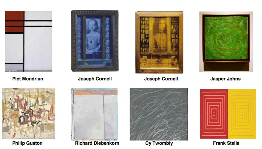 An assortment of fine art paintings, some pictured here, were among the loot stolen from a Santa Monica home last week. Owner Jeff Gundlach has offered $1.5 million in addition rewards for the Piet Mondrian and the Jasper Johns.