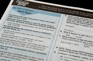 The official US Census form,  pictured on March 18, 2010 in Washington, DC.