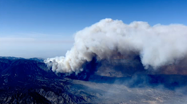 An aerial shot of the Grand Fire burning in Kern County.