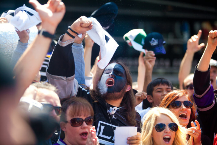 Fans Cheer On LA Kings During Game 6 Of Stanley Cup Final