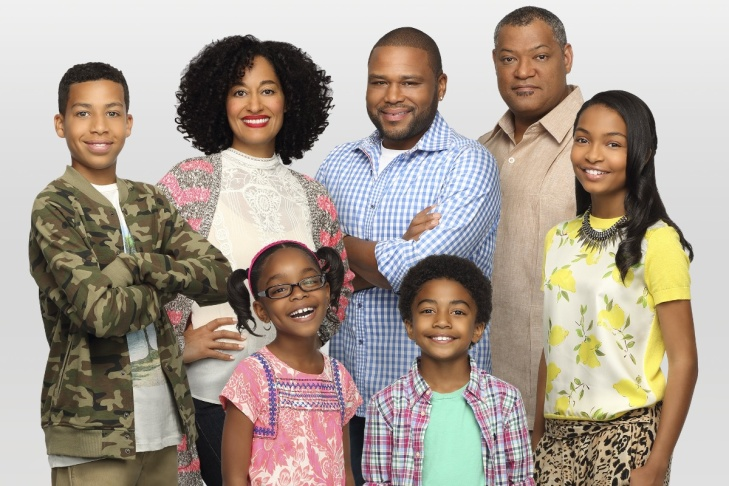 The cast of the new ABC series, black-ish. (left to right) Marcus Scribner, Tracee Ellis Ross, Marsai Martin, Anthony Anderson, Laurence Fishburn, Yara Shahidi