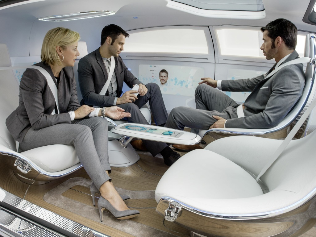 Mercedes-Benz F 015 Luxury in Motion This futurist concept car, shown at CES 2015, features a pod-like interior with swivel seats and video screens in the doors.