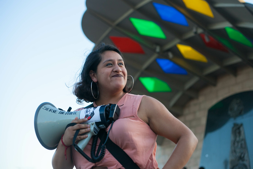Carolyn Vera at a vigil and protest against police violence for Jesse Romero in Boyle Heights, Calif. on Wednesday, Aug. 10, 2016.