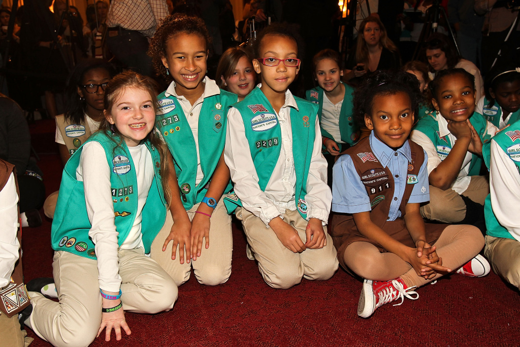 Area Girl Scouts attend Girl Scouts At 100: The Launch of ToGetHerThere at Capitol Hill Cannon House Office Bldg, Caucus Room on February 1, 2012 in Washington, DC.