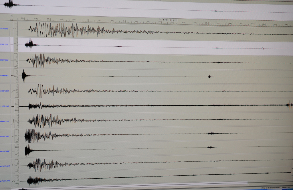The seismograph of a 6.9 earthquake that hit the central Philippines, as seen on a computer monitor on February 6, 2012.