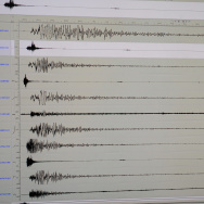 The seismograph of the 6.9 earthquake th